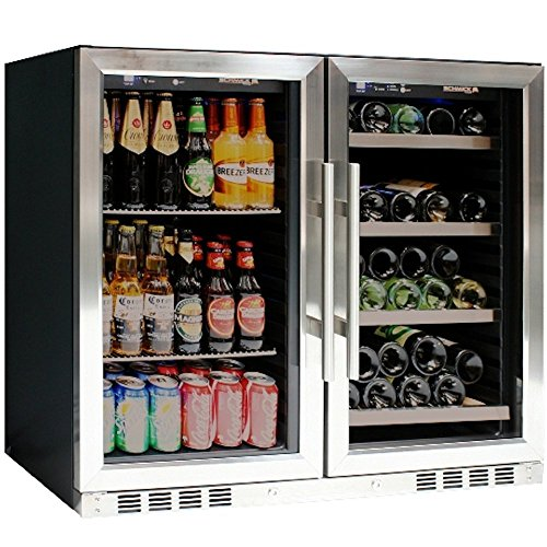 """39\"" Wide Wine and Beer Cooler Combo, Two temperature zone, top-selling under counter beer and wine refrigerator, ideal for any bar, restaurant or home"""