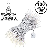 Novelty Lights, Inc. CG100/20-W-CL Commercial Grade Heavy Duty Christmas Mini Christmas Light Set, Clear, White Wire, 100 Light, 50' Long, Connect 10 (Standard is Connect 5)