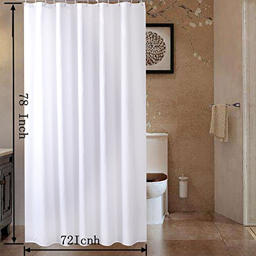 Sfoothome Hotel Fabric Heavy Weight Shower Curtain Waterproof and Mildew Free Bath Curtains,72 inch Wide x 78 inch Long, Pure White Curtain by Sfoothome