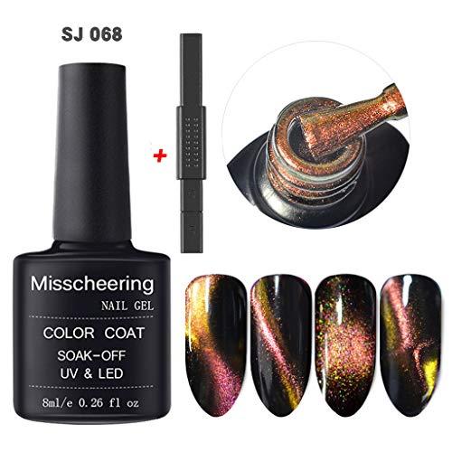 CCatyam Nail Polish, Gel Art Cat Eye with Magnet Strip Sequins UV LED Fast Dry Manicure Liquid Fashion