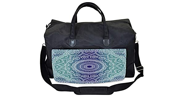Ambesonne Navy and Teal Gym Bag Ombre Tribe Large Weekender Carry-on