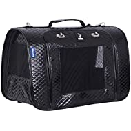 Petper CW-125 Cat Carrier PU Leather Pet Carrier Designed for Cats, Small Dogs, Kittens, Puppies Pet Travel Carrying Handbag for Outdoor Travel Walking Hiking, Black