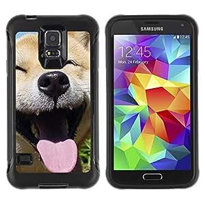 ZETECH CASES / Samsung Galaxy S5 SM-G900 / HAPPY SHIBA INU DOG CANINE / feliz shiba inu perro canino / Robusto Caso Carcaso Billetera Shell Armor Funda Case Cover Slim Armor