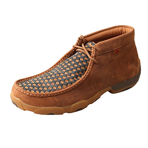 (Twisted X Men's Leather Lace-Up Rubber Sole Driving Moccasins - Oiled Saddle Brown)