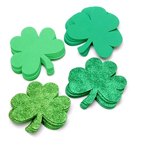 36 Piece Set of 5.5 inch Foam Shamrocks for Saint Patrick's Day Crafts Projects -
