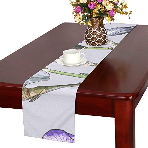WJJSXKA Iris Hand Painted Vintage Spring Table Runner, Kitchen Dining Table Runner 16 X 72 Inch for Dinner Parties, Events, Decor ()