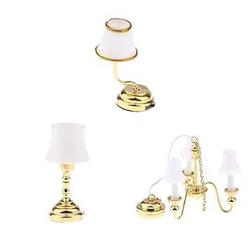 CUTICATE 1:12 Miniatura Lámpara de Techo + Lámpara de Mesa + ...