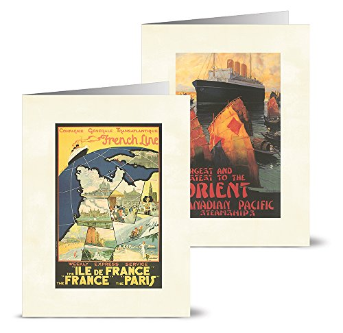 Vintage Travel Posters - 36 Note Cards - 12 Designs - Blank Cards - Off-White Ivory Envelopes Included