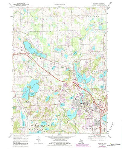 YellowMaps Brighton MI topo map, 1:24000 Scale, 7.5 X 7.5 Minute, Historical, 1968, Updated 1984, 26.9 x 22 in - Tyvek
