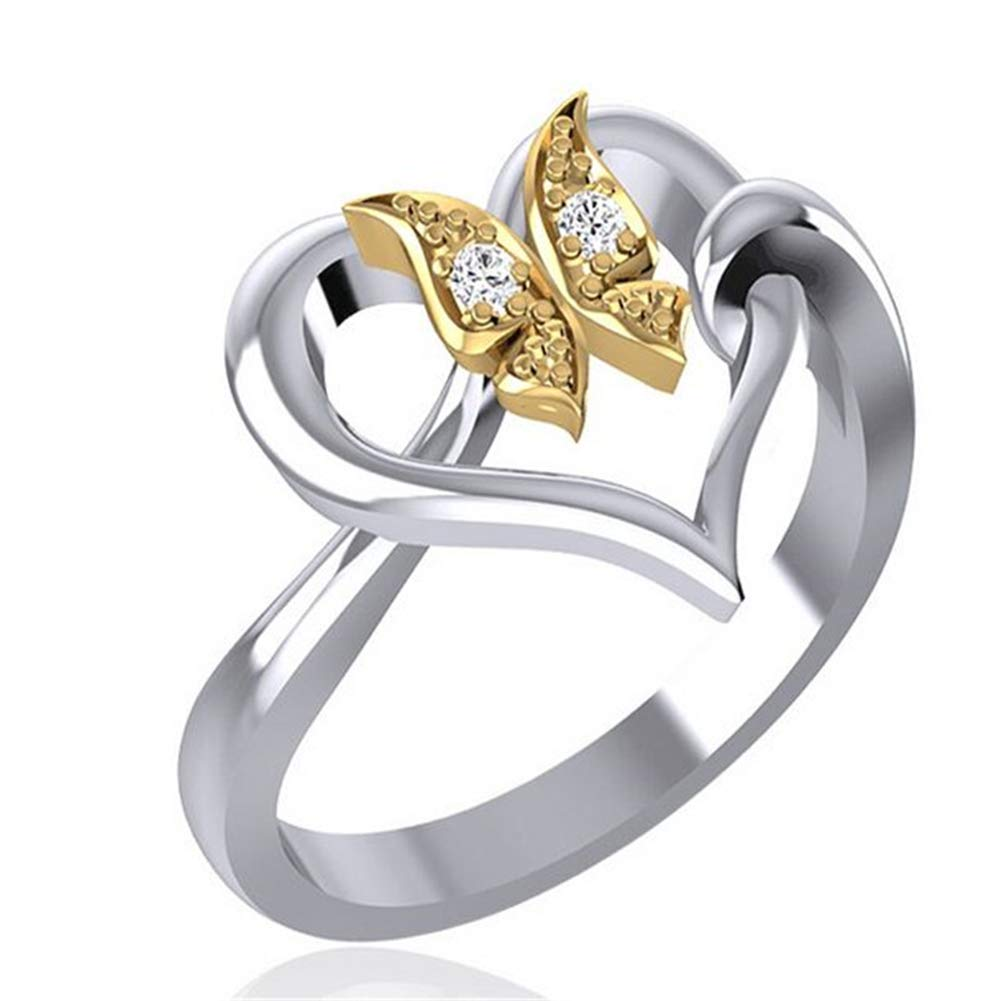 Slendima Elegant Butterfly Love Hollow Heart Shape Rhinestone Finger Ring Wedding Bridal Jewerly Gift - Size 6-10 Golden US 8