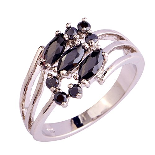 Narica Womens Brilliant Marquise Cut Black Spinel Twisted Cocktail Ring