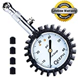 #8: Tire Pressure Gauge by QEEPH  Measures up to 60 PSI  Large 2 Dial for Readability Steel Construction with Rubber Protection  Protects Tires & Saves Fuel For Cars, Motorcycles & Utility Vehicles