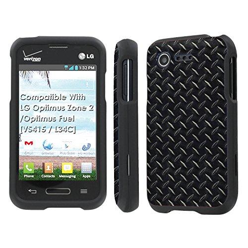 LG Optimus Zone 2 / Optimus Fuel [VS415 / L34C] Case, [NakedShield] [Black] Total Armor Protection Case - [Black Diamond Plate] for LG Optimus Zone 2 / Optimus Fuel [VS415 / L34C]