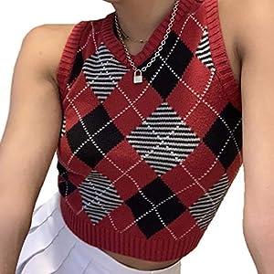 Vertvie Femme Pull en Tricot Gilets sans Manches Col V Géométrique Gilet Scolaire Classique Débardeur Élégant Chandail…