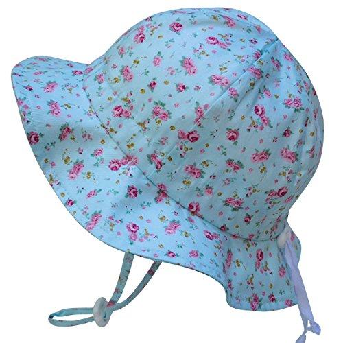 Kids Sun Hat with Chin Strap, Drawstring Adjust Head Size, Breathable 50+ UPF (L: 2 - 12Y, Retro rose )