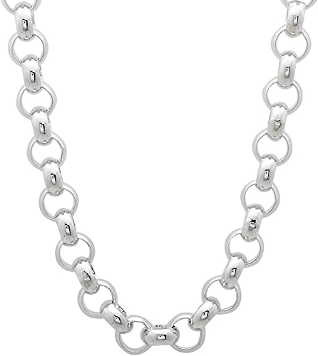 """925 STERLING SILVER 24/"""" SOLID HEAVY ROUND BELCHER ROLO LINK CHAIN NECKLACE BOXED"""