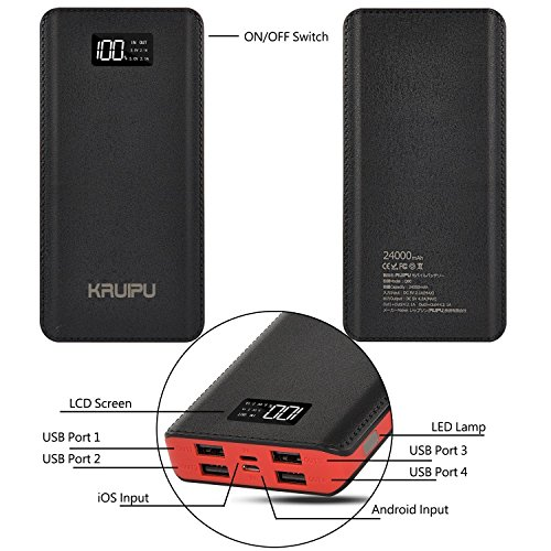 Power Bank 24000mAh Portable Charger Battery Pack 4 OutPut Ports Huge Capacity Backup Battery Compatible Smart Phone Almost All Android Phone And Others by KENRUIPU (Image #1)