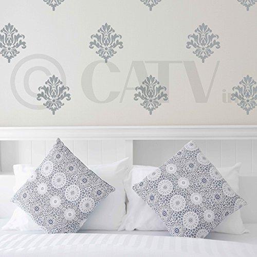 Silver Metallic Pull Matte - Damask set of 18 vinyl wall decal self adhesive wall pattern stickers (Metallic Silver)