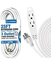 25-Feet 3 Outlet Extension Cord, Kasonic UL Listed, 16 / 3 SJTW 3-Wire Grounded, 13 Amp 125 V 1625 Watts, Multi-Outlet Indoor/Outdoor Use (25FT)