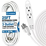 25-Feet 3 Outlet Extension Cord, Kasonic UL Listed, 16/3 SJTW 3-Wire Grounded, 13 Amp 125 V 1625 Watts, Multi-Outlet Indoor/Outdoor Use (25FT)