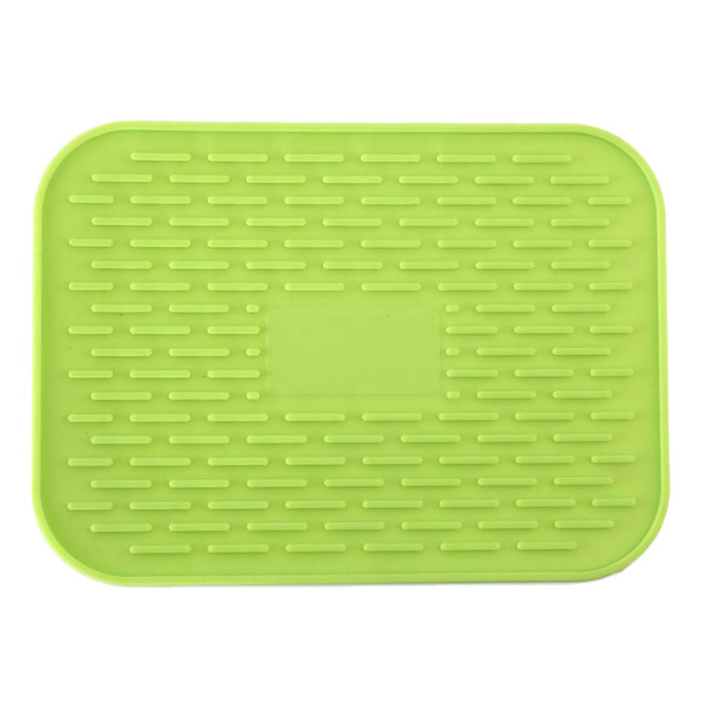 SUJING Silicone Placemats for Dining Table Heat-Resistant Washable Non-Slip Insulation Mats Silicone Pot Holder, Trivet Mat (Green)