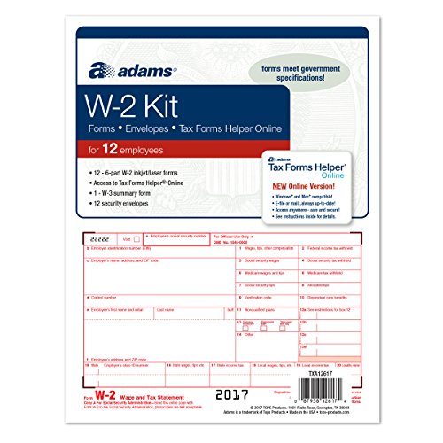 Amazon.com : Adams W-2 Tax Forms for 2017 - 6-Part Sets, W-3 ...