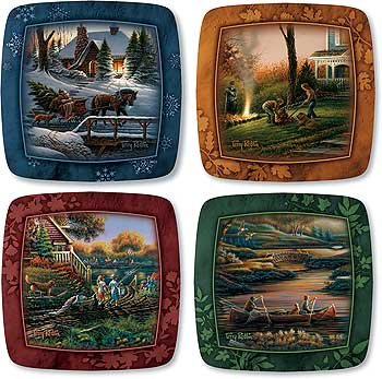 Family Seasons Square Mini Collector Plates by Terry Redlin