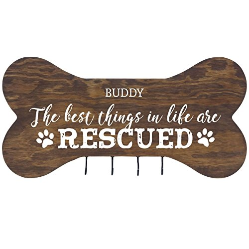 Personalized The Best Things Wall Mounted Dog Bone Pet Leash Rack,Dog Collar Holder New Home Decor Gift ideas and 4 hooks 16
