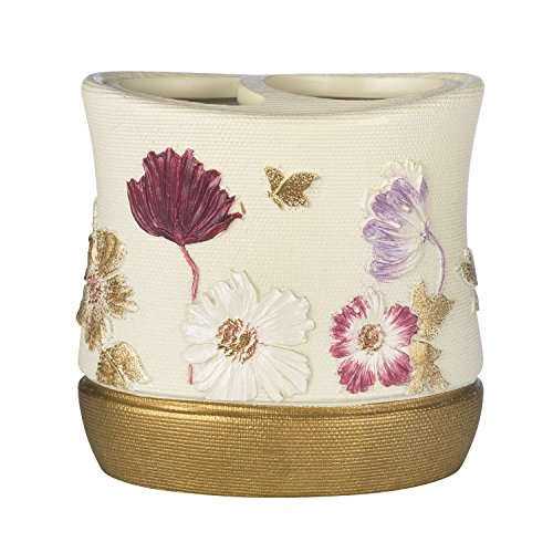 Popular Home The Dahlia Collection Tooth Brush Holder, Rose
