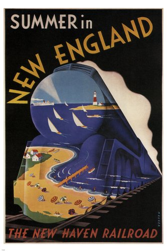 Summer in New England VINTAGE POSTER Sascha Maurer 1938 24X36 TRAIN - Train New England