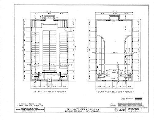 Historic Pictoric Blueprint Diagram HABS NJ,11-LAWR,2- (Sheet 3 of 5) - Presbyterian Church, Main Street, Lawrenceville, Mercer County, NJ 44in x 32in ()