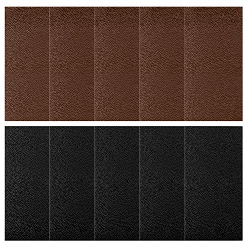 URlighting 10 Pieces Leather Repair Patches Set, Adhesive Backing Leather Patch for Repair Couch Furniture Sofa, Car Seat, Jackets, Handbag, 3.9 by 7.9 inch (Black + Dark Brown)