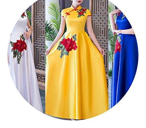 ご覧ください名前を作る海洋チャイナドレス歓迎式典開会式会議のエチケットの衣装,黄色,4XLのカスタマイズ