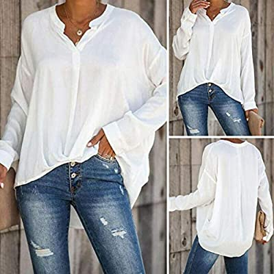 Women Blouse Tunic Long Sleeve Casual Pullover Tops Asymmetric Hem Loose Solid Tops Baggy V Neck T-Shirt: Electronics