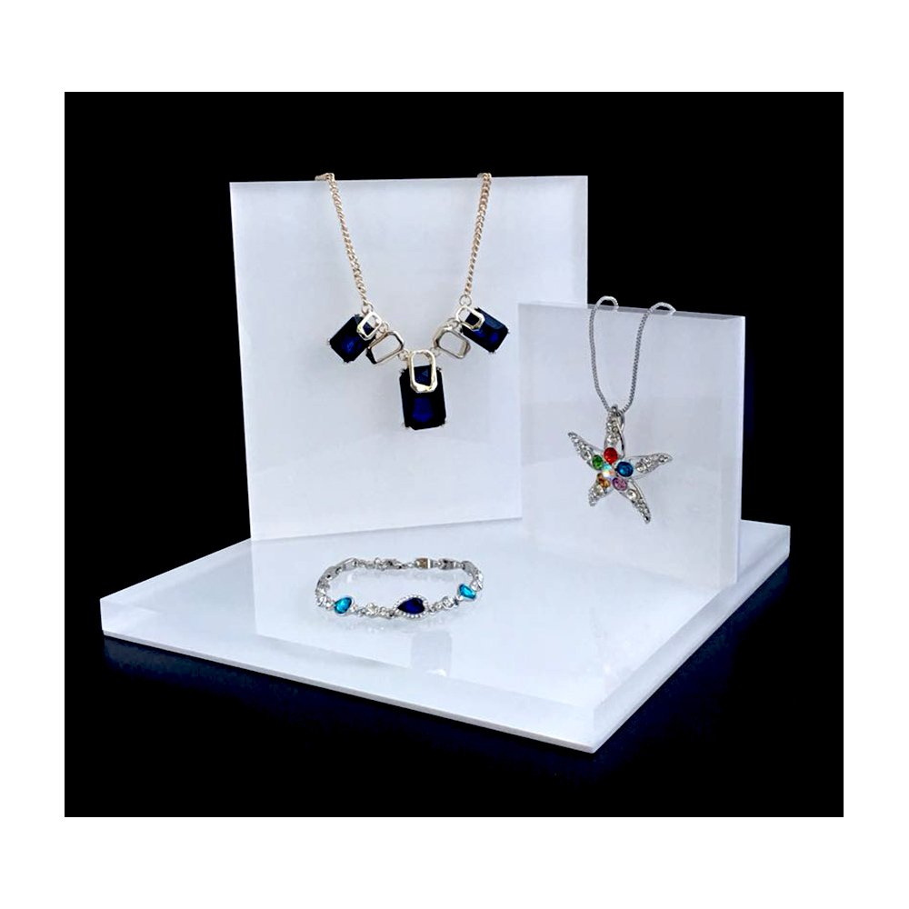 Acrylic Jewelry Display Platform Stand Holder White Fine Exhibition Fashion Store Gallery Trade Show White (Set of 3)