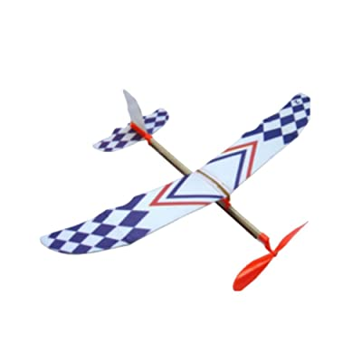 Colorful Glider Rubber Band Child Develop Toy Powered Flying Plane Fun Airplane Model, Magic Vehicles Gift for Boys Girls Kids Toddlers: Toys & Games