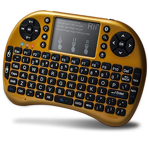 Rii Mini Bluetooth Keyboard with Touchpad&QWERTY Keyboard, Backlit Portable Wireless Keyboard for Smartphones laptop/PC/Tablets/Windows/Mac/TV/Xbox/PS3/Raspberry Pi .(i8+ Yellow)