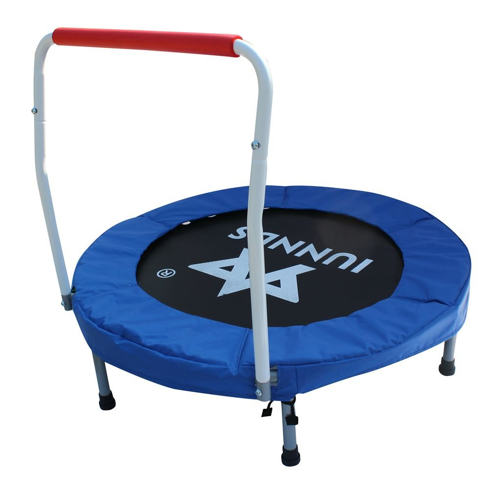 KLB Sport 36'' Mini Foldable Trampoline with Handrail for Kids Ages 3 to 8 (Blue & White)