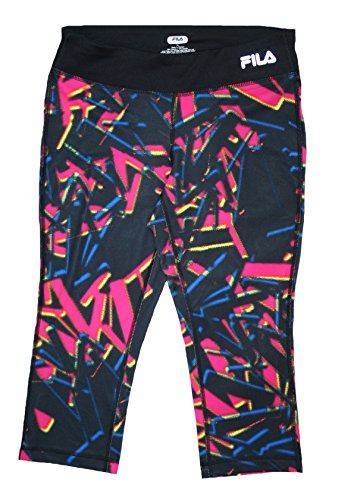 Fila Capri Tights - Fila Womens' 3/4 Length Sports Performance Tights (XSmall, Black/Neon)