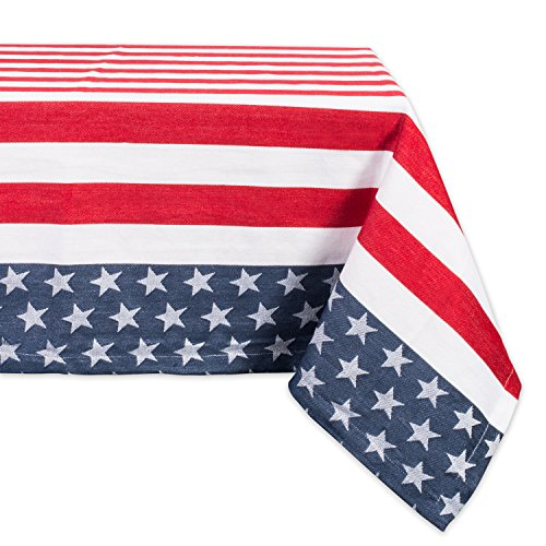 DII CAMZ37423 100% Cotton, Machine Washable, Dinner, Summer & Picnic Tablecloth, 60 x 120,Stars & Stripes, Seats 10 to 12 People, 60x120,