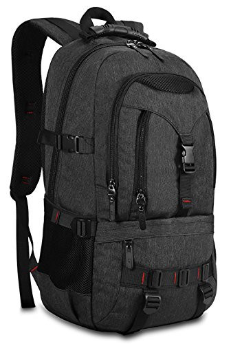 - KAKA Large Laptop Backpack, Anti Theft Water Resistant Travel Backpack for Women & Men Fits 17 Inch Laptop and Notebook, Black Daypack for Outdoor Camping