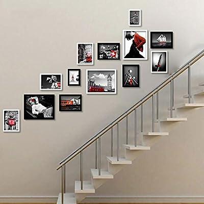 Marco de fotos Escalera de Madera Maciza Pasillo Pared de la Foto Combinación de Marco de Pared Decoración de la Pared del Pasillo XXT (Color : Blanco, PATRÓN : A): Amazon.es: Hogar