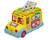 Joytime School Bus Toy Yellow-8 Activity Games, Automatic Rides, Lights and Music and Swinging