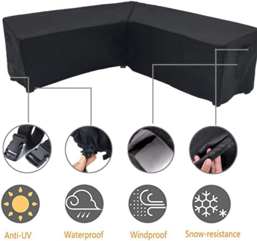 EMVANV Outdoor Garden Corner Cover Waterproof Anti-Dust Durable Sun Protection L Shape Black Rattan Corner Sofa Garden Furniture Cover