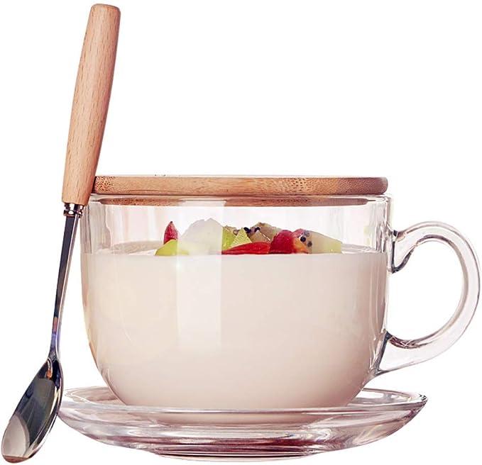 470 ml Copa de Cristal para Microondas con Tapa de Madera,Taza de avena con tapa Cuchara Taza de desayuno Microondas Leche Tazón de cereales Inicio Incluye una Cuchara con Mango de Madera: