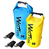 Wolfyok 20L/10L Dry Bag Roll Top Waterproof Floating Dry Sack Dry Gear Bag with Adjustable Shoulder Straps for Boating Kayaking Fishing Rafting Camping Canoeing Backpacking Hiking