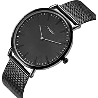 SINOBI Unisex Black Quartz Wrist Watch Ultra Thin With Minimalist Analogue Dispaly and Milanese Band