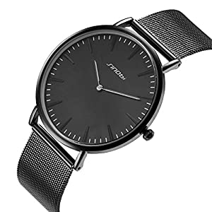 SINOBI Unisex Leather Black Quartz Wrist Watch Ultra Thin With Minimalist Analogue Dispaly Business