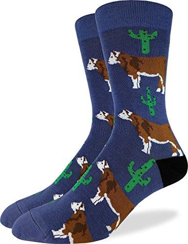 Good Luck Sock Mens Cactus Cow Crew Socks - Blue, Shoe Size 7-12
