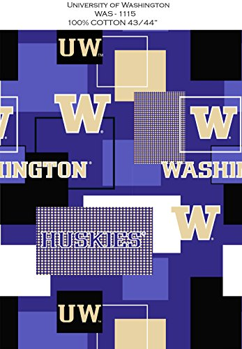 UNIVERSITY OF WASHINGTON COTTON FABRIC BLOCK PRINT-WASHINGTON HUSKIES BLOCK PRINT COTTON FABRIC-NEWEST DESIGN ()